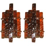 Pair of Handblown and Hand Chiselled Murano Glass Sconces