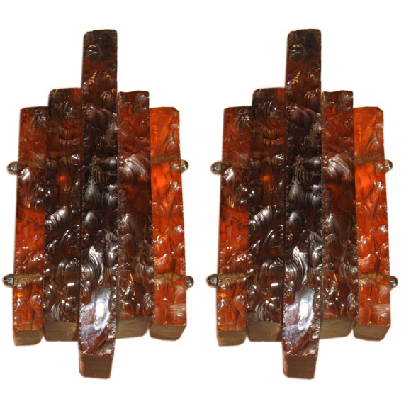 Pair of Handblown and Hand Chiselled Murano Glass Sconces 1