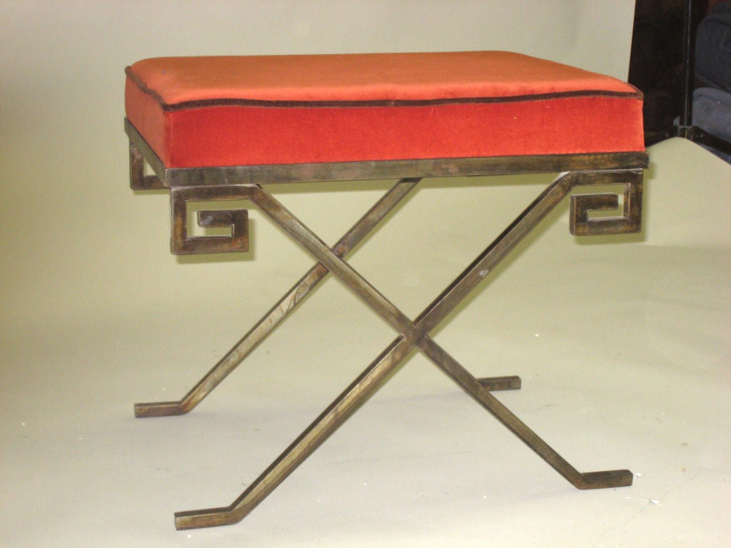 Pair of French Bronzed Iron Stools / Benches after Jean Michel Frank 3