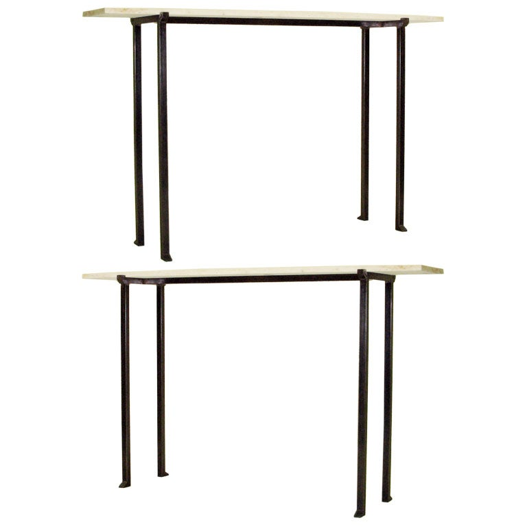 Two Mid-Century Modern Bronzed Wrought Iron Consoles in Marc Duplantier Style For Sale