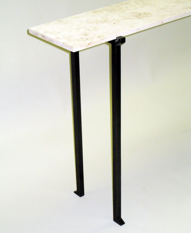 French Two Mid-Century Modern Bronzed Wrought Iron Consoles in Marc Duplantier Style For Sale