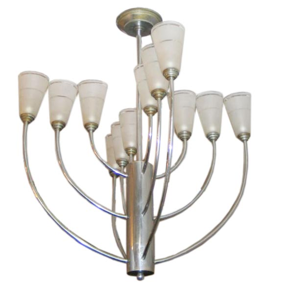 French Mid-Century Modern Nickel Chandelier Attributed to Jacques Adnet