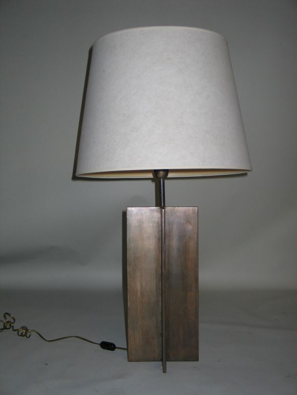 Mid-Century Modern Pair of Cross Form Table Lamps in the Manner of Jacques Quinet For Sale