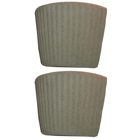 Pair of French Mid-Century Modern Cast Sand Sconces, Style of Jean Michel Frank For Sale