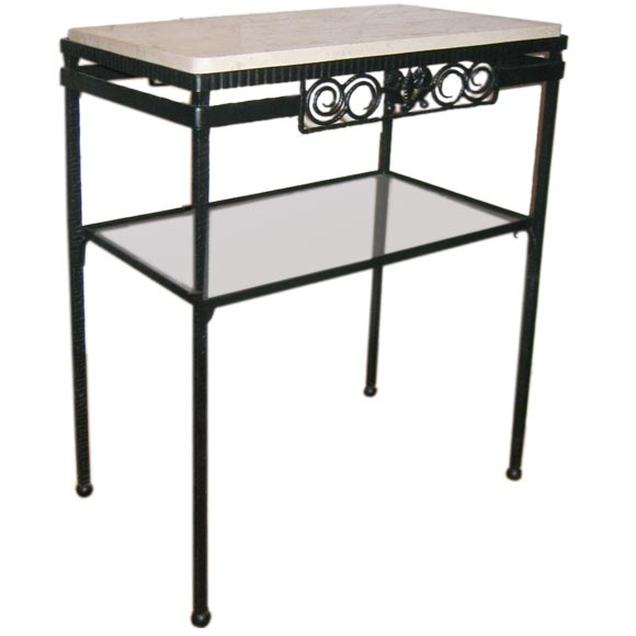 French Art Deco Wrought Iron and Stone Console in the Manner of Edgar Brandt