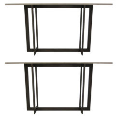 Two French Mid-Century Modern Style Iron Consoles in the Style of Jacques Quinet
