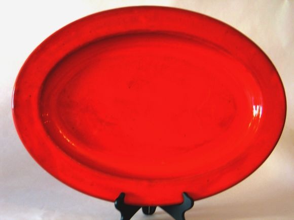 Mid-Century Modern Two Large French Mid-Century Ceramic Platters by Voltz For Sale