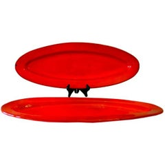 Two Large French Mid-Century Red Glazed Ceramic Platters by Voltz for Vallauris