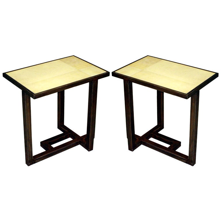 Pair of Parchment Covered Tables after Paul Dupré-Lafon