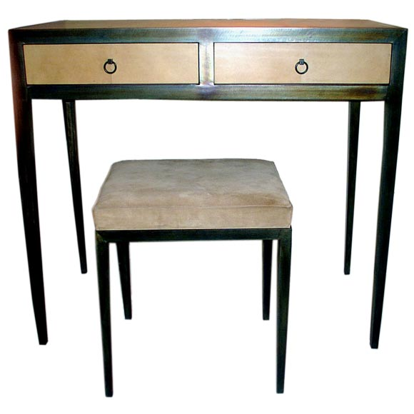 French Mid-Century Style Parchment Covered Vanity/ Desk, Jean-Michel Frank Style For Sale