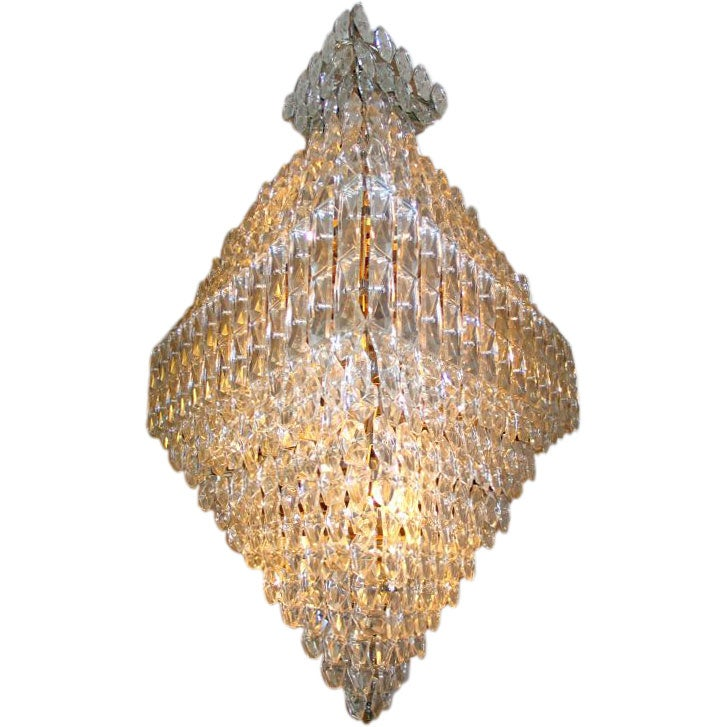 Large, Rare French Mid-Century Modern Crystal Chandelier Attributed to Baccarat