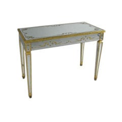 Reverse Painted and Mirrored Vanity / Writing Desk by Jansen