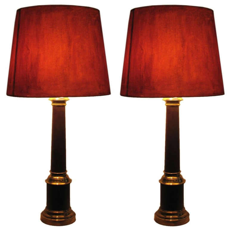 Pair French Mid Century Modern Brass & Enamel Table Lamps, Hand Painted Shades