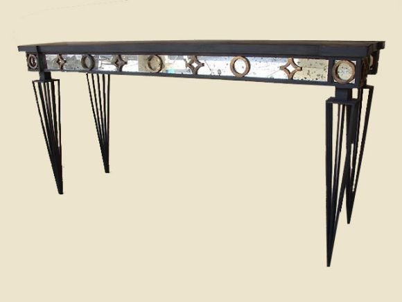 Neoclassical Revival 2 French Modern Neoclassical / 1940 Style Iron Consoles after Gilbert Poillerat For Sale