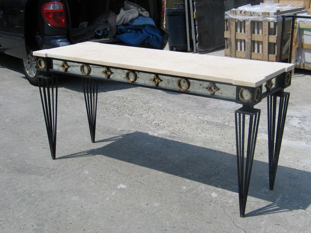 2 French Modern Neoclassical / 1940 Style Iron Consoles after Gilbert Poillerat In Excellent Condition For Sale In New York, NY