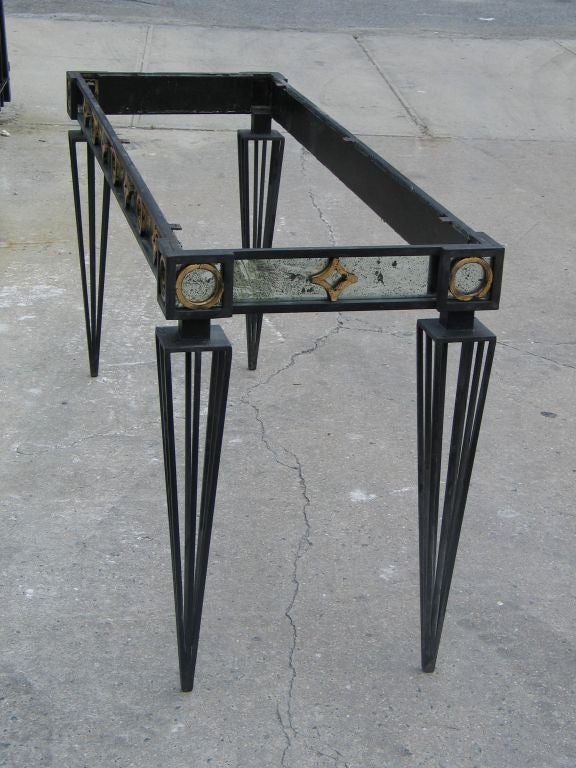 Contemporary 2 French Modern Neoclassical / 1940 Style Iron Consoles after Gilbert Poillerat For Sale