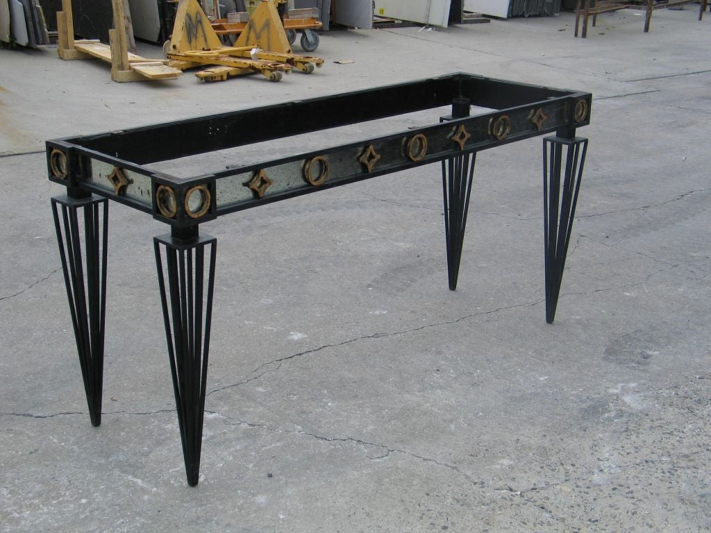 2 French Modern Neoclassical / 1940 Style Iron Consoles after Gilbert Poillerat For Sale 1