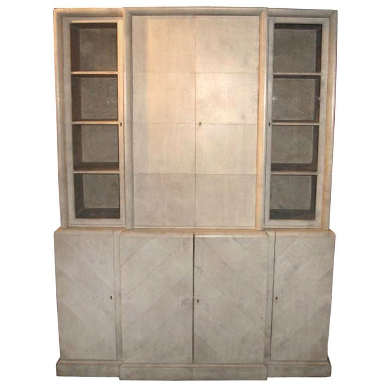 Samuel Marx Herringbone Parchment Cabinet For Sale