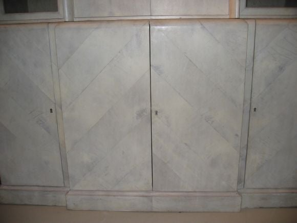 """Fantastic Herringbone Parchment Cabinet. Provenance available. Illustrated in """"Utramodern""""."""