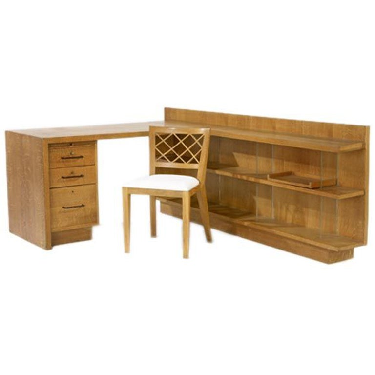 "Jean Royère Custom Desk and ""Croisillon"" Chair"