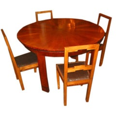 French 30s Walnut Deco` Game Table with 6 chairs