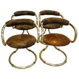Set of 4 Italian 70s Chrome Armchairs