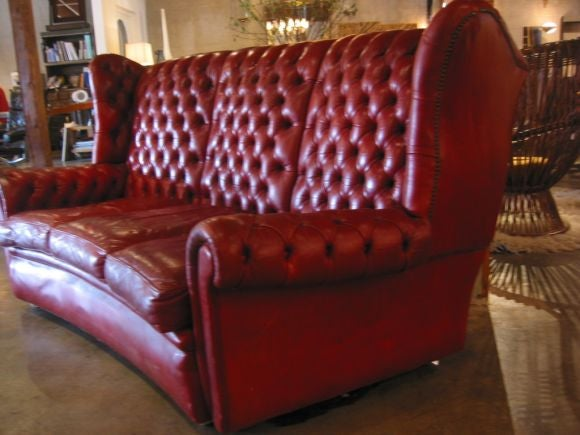 French Red Leather Tufted Sofa Set At 1stdibs