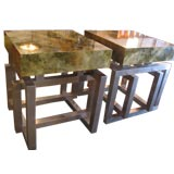 Pair of Italian 70s Parchment & Steel Cube End Tables