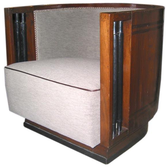 Italian Walnut Cruise Ship Chair For Sale