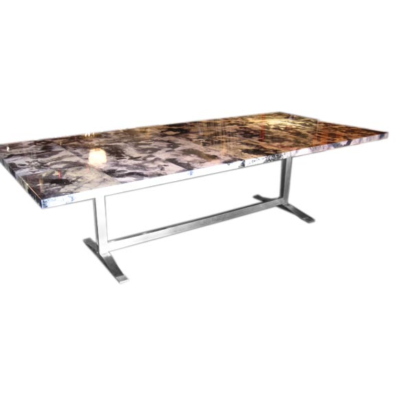 Modern Italian ParchmentResin Table on Stainless Steel  : x2 from www.1stdibs.com size 580 x 580 jpeg 19kB