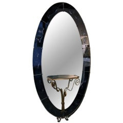 Italian 1940s Murano Oval Cobalt Blue Mirror with Shelf