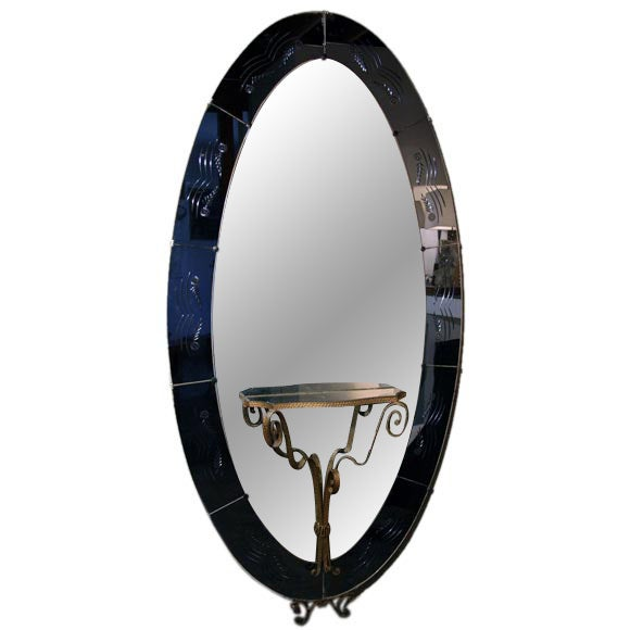 Italian 1940s murano oval cobalt blue mirror with shelf at for Full length mirror with shelf