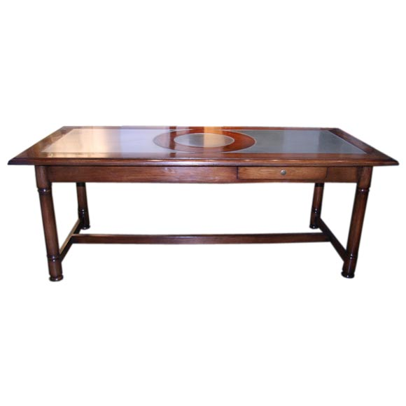 Italian 50's Inlaid Zinc Oak Table