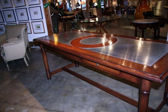 Italian 50's Inlaid Zinc Oak Table For Sale At 1stdibs