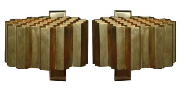 Pair of Jules Wabbes Honeycomb Sconces