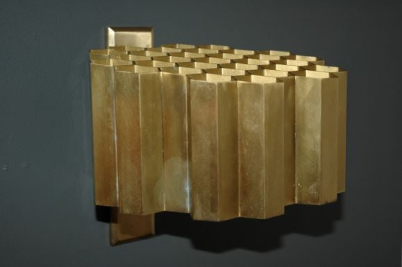 Mid-20th Century Pair of Jules Wabbes Honeycomb Sconces