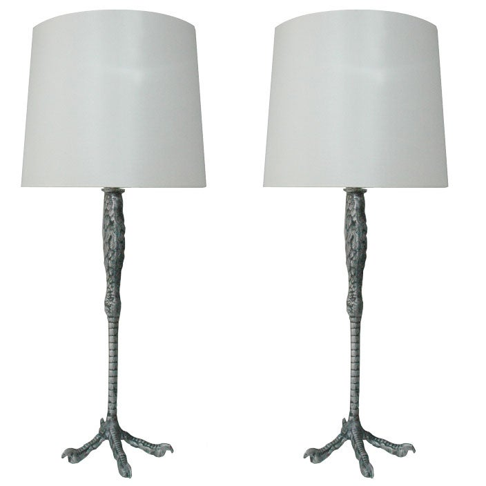 Pair of rewire ostrich leg table lamps at 1stdibs pair of rewire ostrich leg table lamps for sale greentooth Choice Image