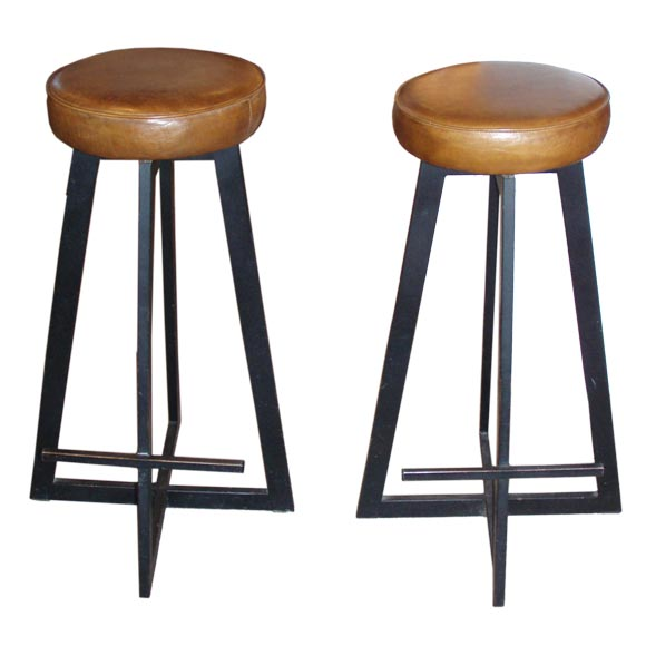 Pair of French Leather and Metal Bar Stools at 1stdibs : 9906376 from 1stdibs.com size 580 x 580 jpeg 27kB