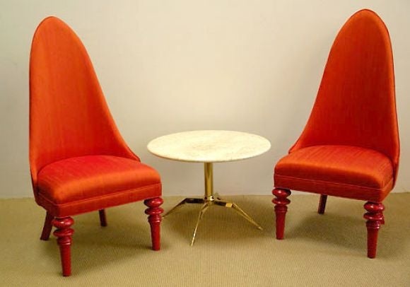 Pair Of Decorative 1960s Orange Silk Chairs At 1stdibs