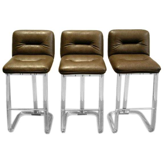 Three Lucite Upholstered Bar Stools At 1stdibs
