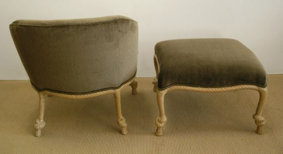 Decorative Chair With Ottoman Carved Rope Design At 1stdibs