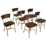 Set of Six Italian Leather and Steel Dining Chairs