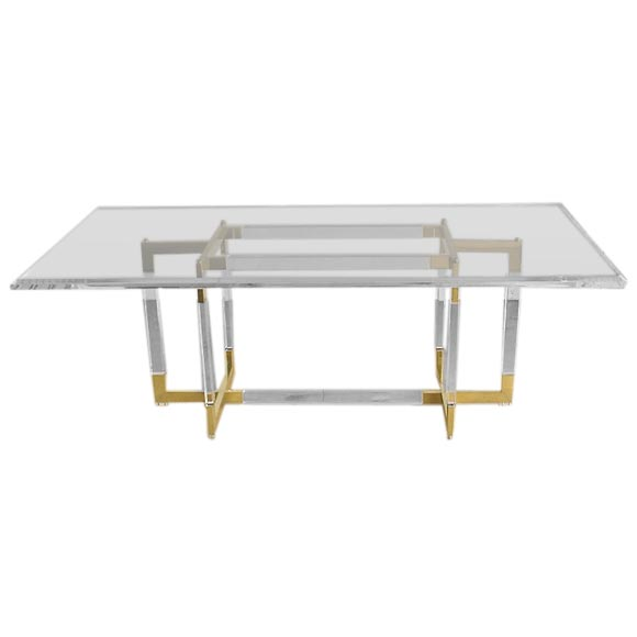 Lucite and Brass Dining Table designed by Charles Hollis Jones at ...