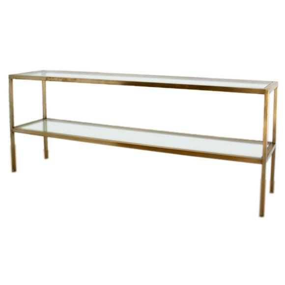 Long Console Table : Long Brass and Glass Console Table at 1stdibs