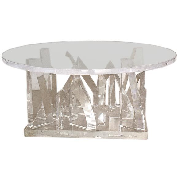 Round Sculptural Lucite Coffee Table At 1stdibs