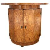 Round Elm Burl Table/Liquor Cabinet