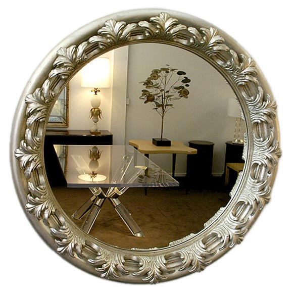 Large round carved silver wall mirror at 1stdibs for Round silver wall mirror