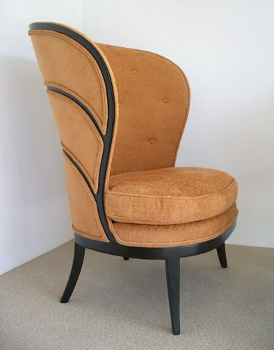 Pair of High Back Wood and Upholstered Chairs at 1stdibs