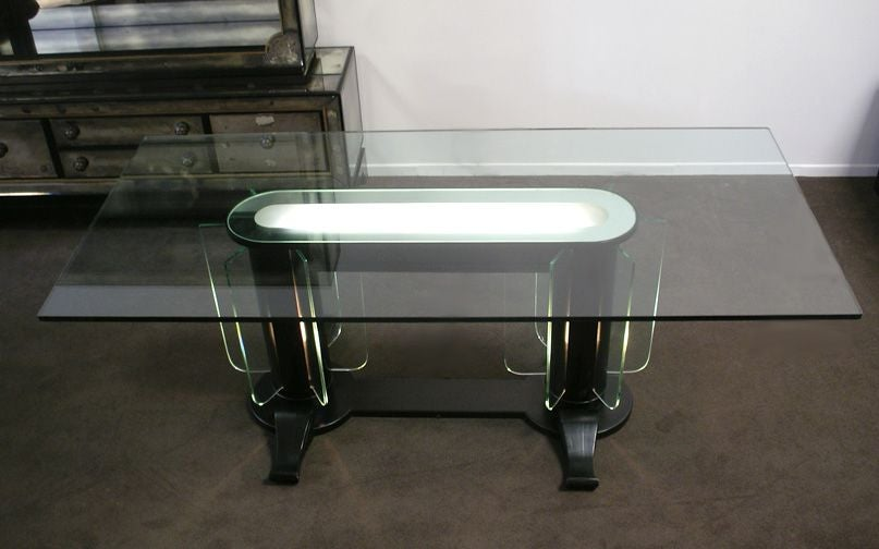 Etched Streamline Moderne 1930s Illuminated Glass and Wood Table/Desk For Sale