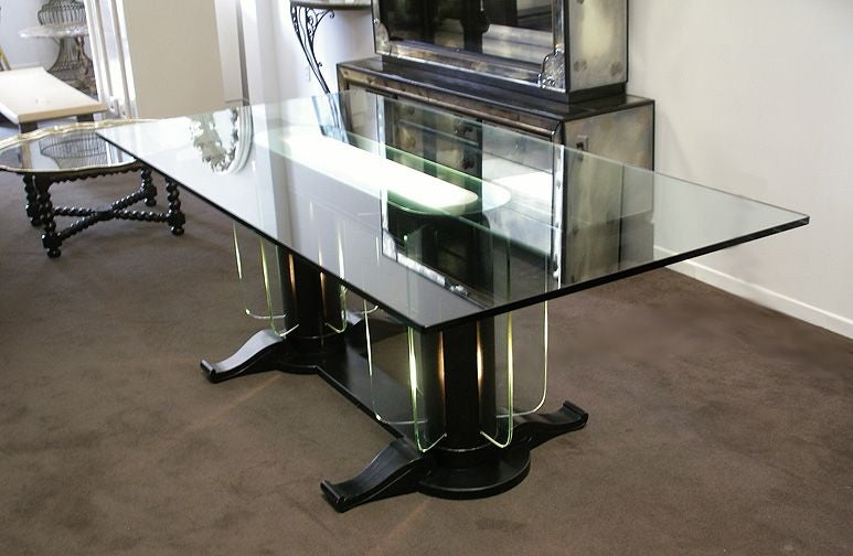 American Streamline Moderne 1930s Illuminated Glass and Wood Table/Desk For Sale